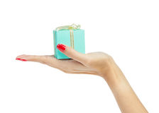 Female hand holding  gift box Stock Image