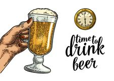 Female hand holding glass beer and antique pocket watch. Vintage vector engraving illustration for web, poster, invitation to party. Time to Drink lettering vector illustration