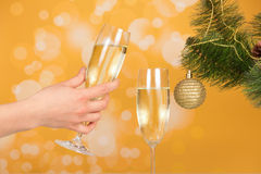 Female hand holding a glass of champagne Stock Images