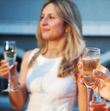 Female hand holding a glass of champagne Stock Photography