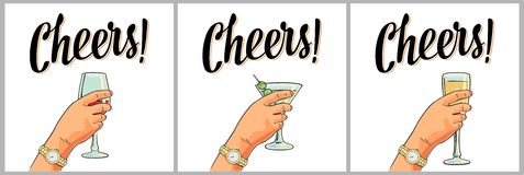 Female hand holding a glass of cocktail, wine, champagne. Cheers toast lettering. Vintage  color engraving illustration for label, poster, invitation to a Royalty Free Stock Image