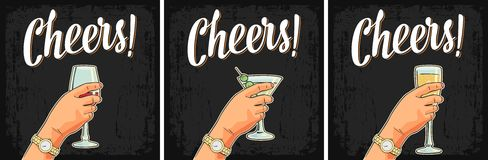 Female hand holding a glass of cocktail, wine, champagne. Cheers toast lettering. Vintage  color engraving illustration for label, poster, invitation to a Royalty Free Stock Images