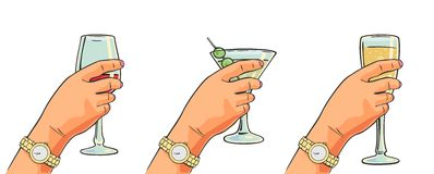 Female hand holding a glass of cocktail, wine, wine. Royalty Free Stock Images