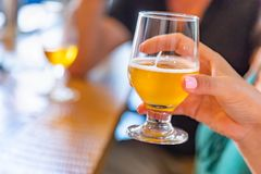 Female Hand Holding Glass of Micro Brew Beer At Bar.  stock photos
