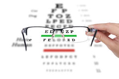 Female hand holding glasses with eyesight test on chart board. Royalty Free Stock Images