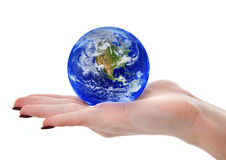 Female hand holding globe Stock Photo