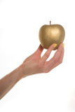Female hand holding a gold apple Royalty Free Stock Photography