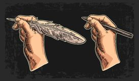 Female hand holding a goose feather and pencil. Vector color vintage engraving Stock Images