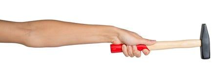 Female hand holding hammer Stock Photos