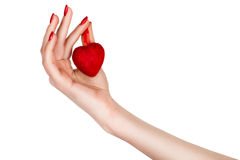 Female hand holding a heart. Royalty Free Stock Photo