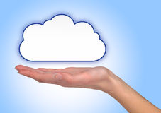 Illustrated cloud on female hand Royalty Free Stock Images