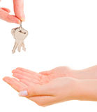 Female hand holding keys Royalty Free Stock Images