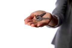 Female hand holding keys Royalty Free Stock Image