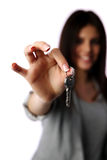 Female hand holding keys Royalty Free Stock Photography