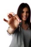 Female hand holding keys Royalty Free Stock Photography