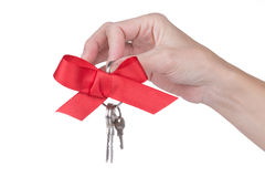 Female hand holding keys with red bow Stock Photography