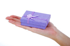 Female hand holding a light blue gift box Stock Photography