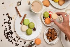 Female hand holding macaroons during coffee break stock photos