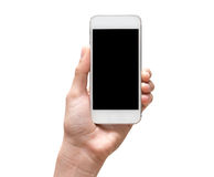 Female hand holding mobile smart phone touch screen on white bac Royalty Free Stock Image