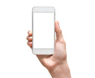 Female hand holding mobile smart phone touch screen on white bac Stock Photos