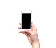 Female hand holding mobile smart phone touch screen on white bac Stock Photo