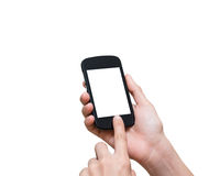 Female hand holding mobile smart phone touch screen on white bac Royalty Free Stock Photo