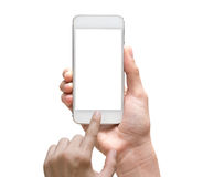 Female hand holding mobile smart phone touch screen on white bac Royalty Free Stock Photography