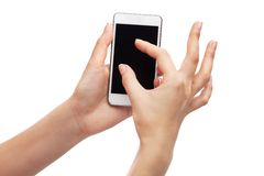 Female hand holding a modern smartphone Royalty Free Stock Photo