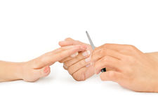 Female hand holding a nail file Stock Photo