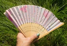 Female hand holding open a bamboo fan on a grass background, copy space stock images