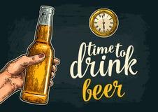 Female hand holding open beer bottles. Time to drink toast lettering. Female hand holding open beer bottles and ancient watch. Time to drinklettering. Vintage vector illustration