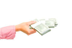 Female hand holding packs of dollars Stock Photography