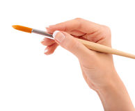 Female hand holding paint brush isolated Royalty Free Stock Photo