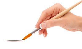 Female hand holding paint brush Royalty Free Stock Photography