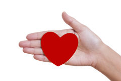 A female hand holding paper heart, Royalty Free Stock Image