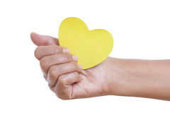 A female hand holding paper heart, Royalty Free Stock Photos