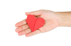 Female hand holding paper heart. Isolated on white Background royalty free stock photo