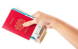 Female Hand Holding Passport and Currency II Stock Images