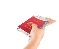 Female Hand Holding Passport and Currency VI Stock Image