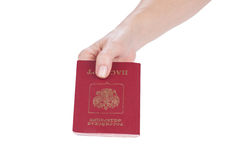 Female hand holding passport of the Russia Stock Image