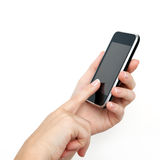 Female hand holding the phone Stock Photo