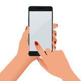 Female hand holding a phone with blank screen. Flat Isolated illustration on white background Stock Photography