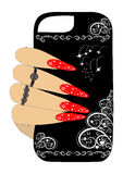 Female hand holding a phone case original. Easily  and scalable  illustration EPS10 Stock Photos