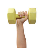 Female hand holding plastic coated dumbell isolated Royalty Free Stock Photography