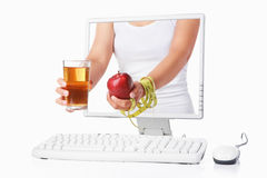 Female hand holding red apple Royalty Free Stock Images