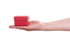 Female hand is holding a red gift box Royalty Free Stock Image