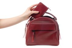 Female hand holding red purse and red bag. On white background isolation Royalty Free Stock Image