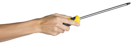 Female hand holding screwdriver Royalty Free Stock Photos