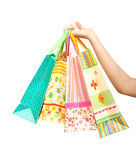 Female hand holding shopping bags Stock Photography