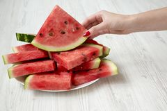 Female hand holding a slice of watermelon, side view. Close-up stock image